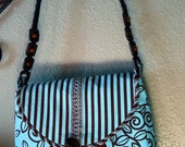 Envelope Style Purse in a rich Brown,Blue stripe and floral