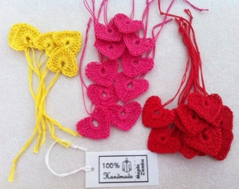 10 Little Tiny CROCHET HEARTS in Fuchsia Pink, Yellow, Red great for Decorations, Ornaments, Embellishments as Gift Tags, Valentines, Easter
