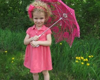 "30"" Pink Lace Crochet  UMBRELLA PARASOL, Valentines Day Wedding"