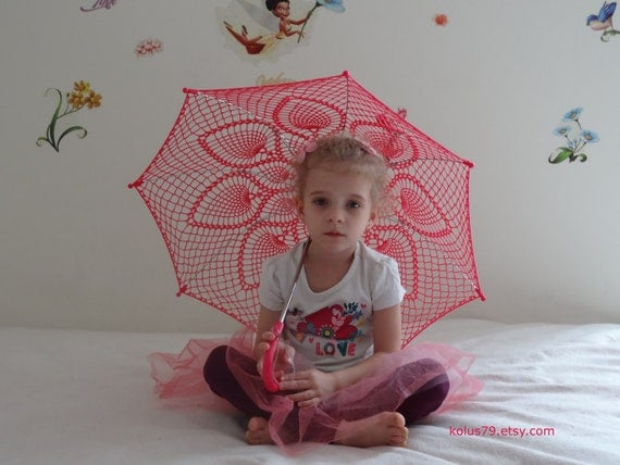 """SALE 32"""" Hot Pink Pineapple, Violet Lace Crochet  PARASOL, Mothers Day Barefoot Wedding UMBRELLA, Steampunk, Goth- Ready to Ship"""