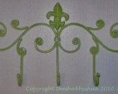 Iron Wall Hook, Fleur de lis metal decor, lime green,bright colors,coat rack / Shabby Chic Decor