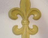 Yellow Wall Decor / Fleur de Lis / French Country / Cast Iron Decor / Paris apartment/ Kitchen decor / Shabby Chic Decor