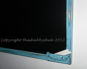 Framed chalkboard, aqua blue Large chalkboard 17 x 23 / Shabby Chic Decor