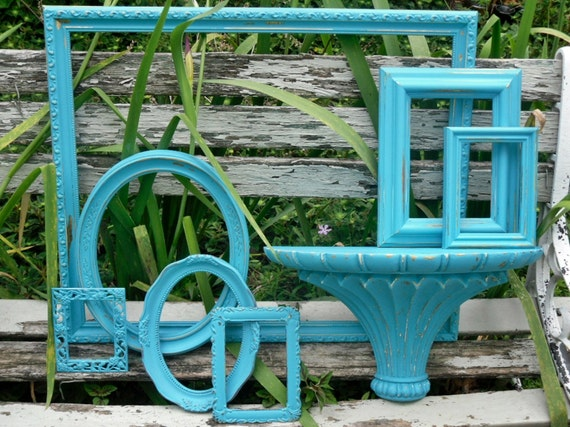 Turquoise Shabby Chic Wedding Beach Cottage Wall Grouping Chippy  Painted  Picture Frame Collection