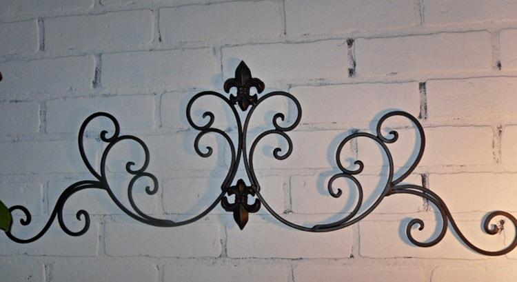 ON SALE Wrought Iron /Fleur De Lis Wall Decor / By