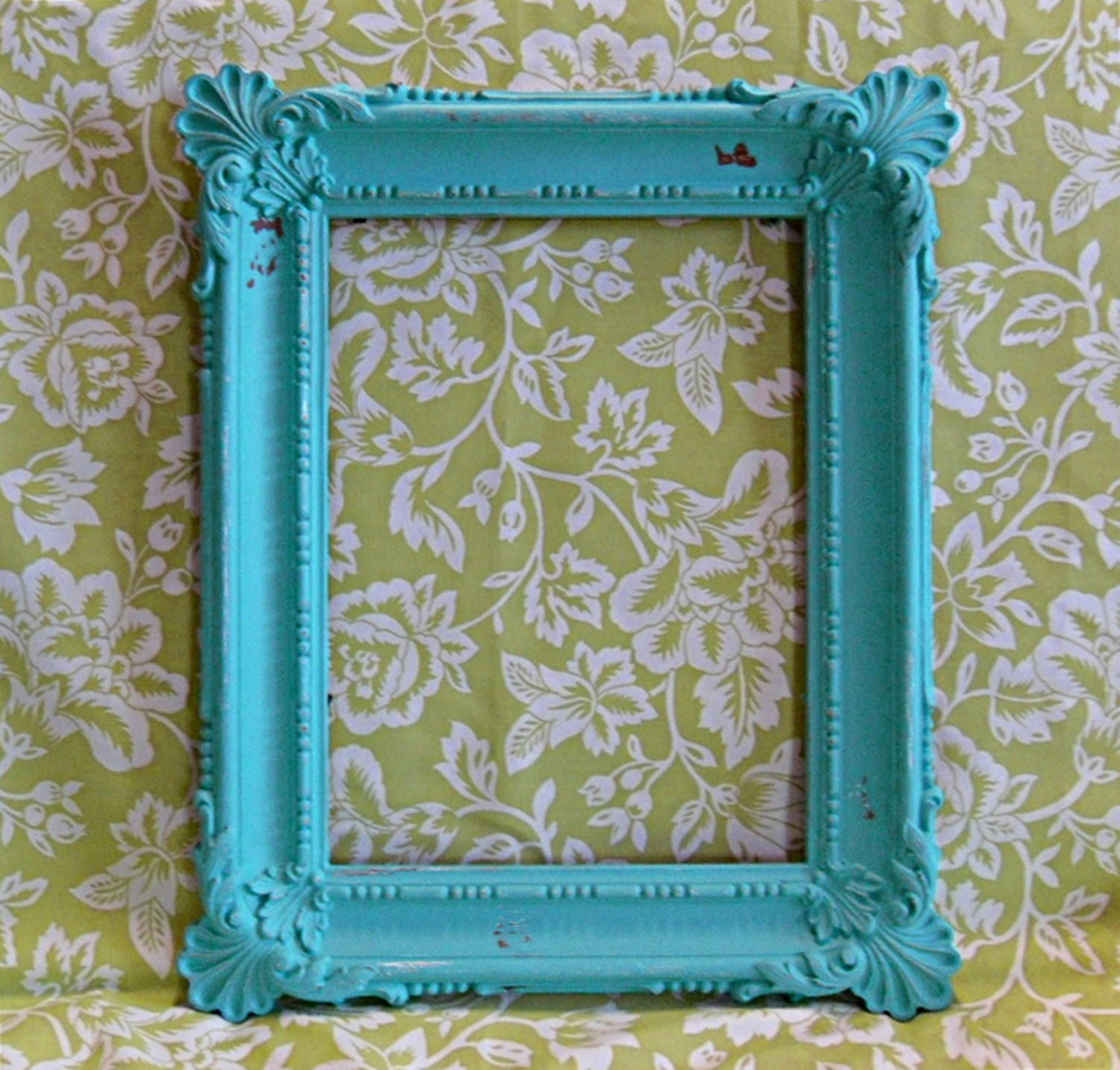 large vintage turquoise shabby chic picture frame zoom