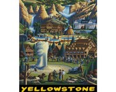 YELLOWSTONE 1-Handmade Leather Postcard / Note Card / Fridge Magnet - Travel Art