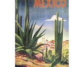 MEXICO 2-Handmade Leather Postcard / Note Card / Fridge Magnet - Travel Art