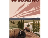 WYOMING 5-Handmade Leather Postcard / Note Card / Fridge Magnet - Travel Art