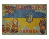 UKRAINE 1F- Handmade Leather Passport / Ticket Holder - Travel Art