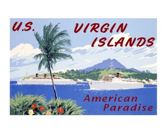 US VIRGIN IS.1 -Handmade Leather Postcard / Note Card / Fridge Magnet - Travel Art