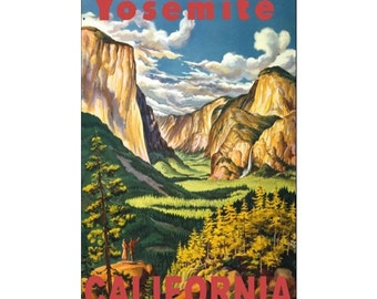 YOSEMITE 13-Handmade Leather Postcard / Note Card / Fridge Magnet - Travel Art