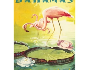 BAHAMAS 1-Handmade Leather Postcard / Note Card / Fridge Magnet - Travel Art
