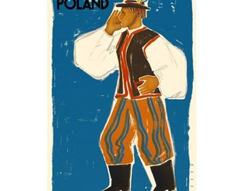 POLAND 5-Handmade Leather Postcard / Note Card / Fridge Magnet - Travel Art