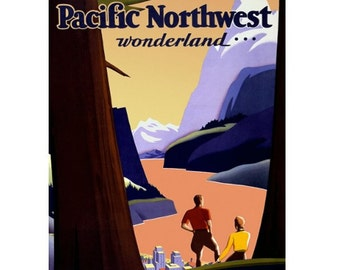 PACIFIC NORTHWEST 1 -Handmade Leather Postcard / Note Card / Fridge Magnet - Travel Art