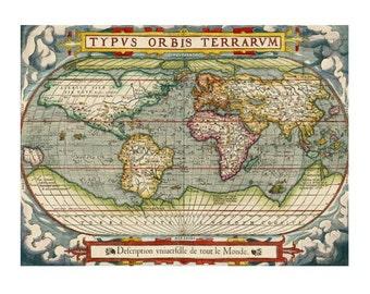 ANTIQUE WORLD Map 7S- Handmade Leather Journal / Sketchbook - Travel Art