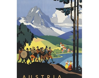 AUSTRIA 2-Handmade Leather Postcard / Note Card / Fridge Magnet - Travel Art