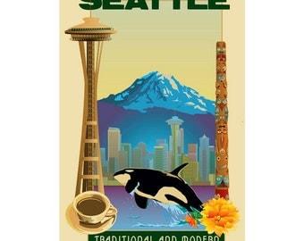 SEATTLE Washington 2- Handmade Leather Passport / Ticket Holder - Travel Art