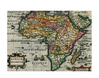 ANTIQUE AFRICA MAP 5ms- Handmade Leather Photo Album - Travel Art