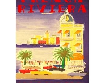FRENCH RIVIERA 1S- Handmade Leather Journal / Sketchbook - Travel Art