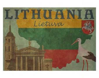 LITHUANIA 1F- Handmade Leather Passport Cover / Travel Wallet - Travel Art