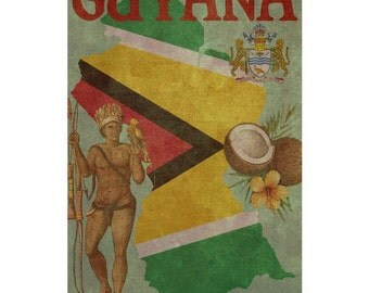 GUYANA 1FS- Handmade Leather Photo Album - Travel Art
