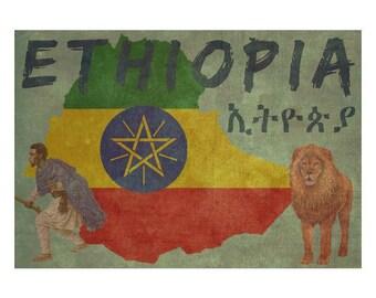 ETHIOPIA 1FS- Handmade Leather Journal / Sketchbook - Travel Art