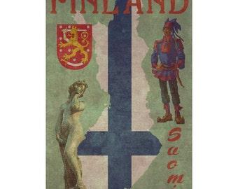 FINLAND 1FS- Handmade Leather Photo Album - Travel Art
