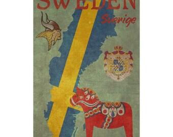 SWEDEN 1FS- Handmade Leather Journal / Sketchbook - Travel Art