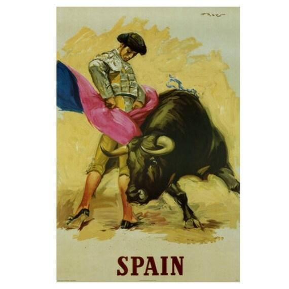 SPAIN 5-Handmade Leather Postcard / Note Card / Fridge Magnet - Travel Art