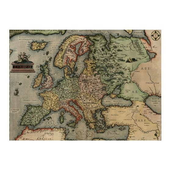 ANTIQUE EUROPE Map 5S- Handmade Leather Journal / Sketchbook - Travel Art
