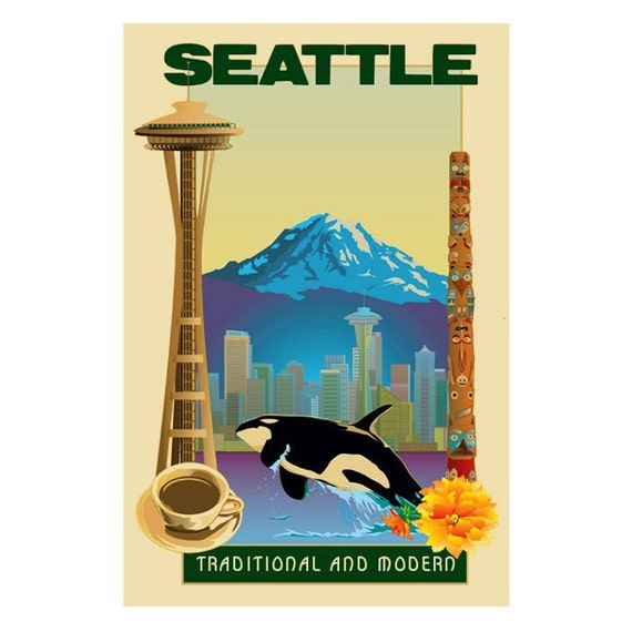 SEATTLE 2s- Handmade Leather Photo Album - Travel Art