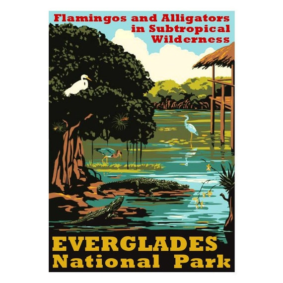EVERGLADES NP 1s- Handmade Leather Journal / Sketchbook - Travel Art