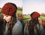 Rust Crocheted Earwarmer, Crocheted Headband, two button closure, ski or snowboarding Head Wrap