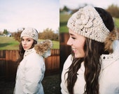 Ear warmer headband, Two Buttons, Wheat Snowboard headband, Crocheted Ski Headband