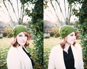 Crocheted headband, Olive Green, Ski or Snowboarding Earwarmer, 2 button closure