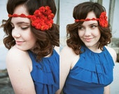 Double Berry Fire Red Crocheted Headband