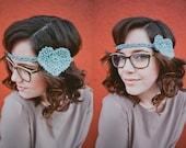 Crocheted Heart Headband in Light Aqua