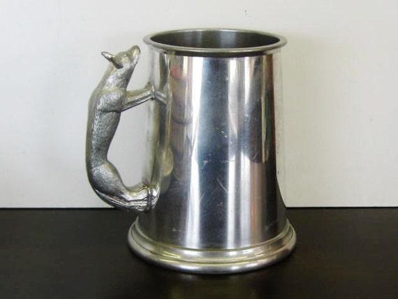 Vintage English Tankard, Fox Handled Pewter Mug, Sheffield England