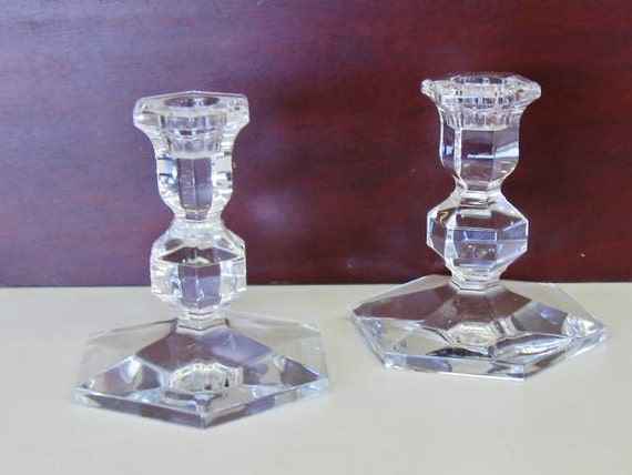 On Reserve.....Vintage Val St. Lambert Crystal Candlesticks or Candle Holders