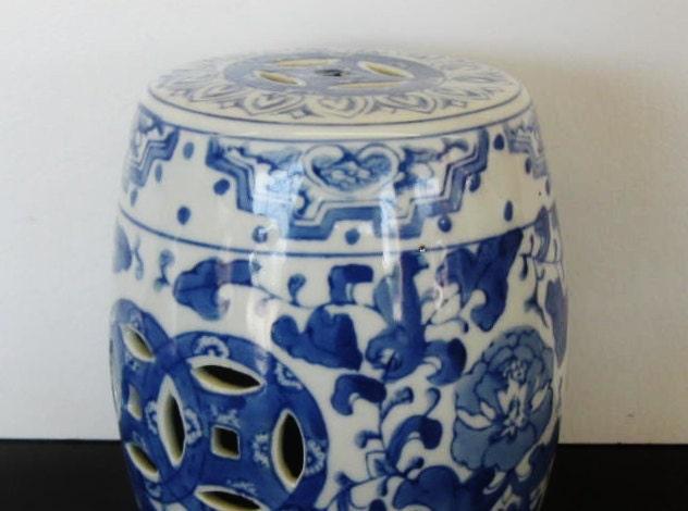 Mini Garden Stool Blue And White Chinoiserie Porcelain