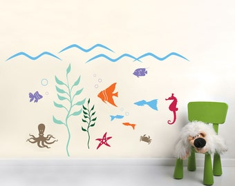 Aquarium Wall Decal Collection - Kid's room Wall Stickers (very easy to apply)