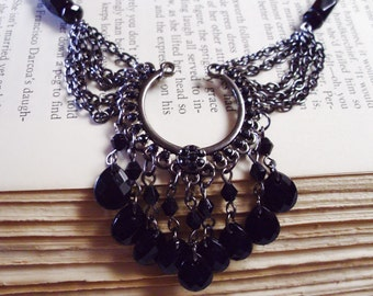 CLEARANCE   black beaded gothic romance necklace