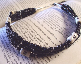 beaded gothic choker black with ivory bone beads