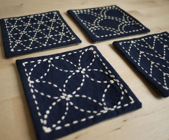 Sashiko Embroidery Kit: DIY Coasters (Set of 4) - Genki w/blue floral backing fabric