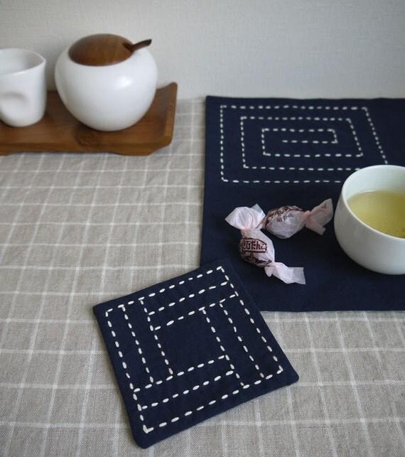 Embroidery Kit: DIY Sashiko Coaster and Placemat Set, Shizuka Tea for Two, gray polka dots backing