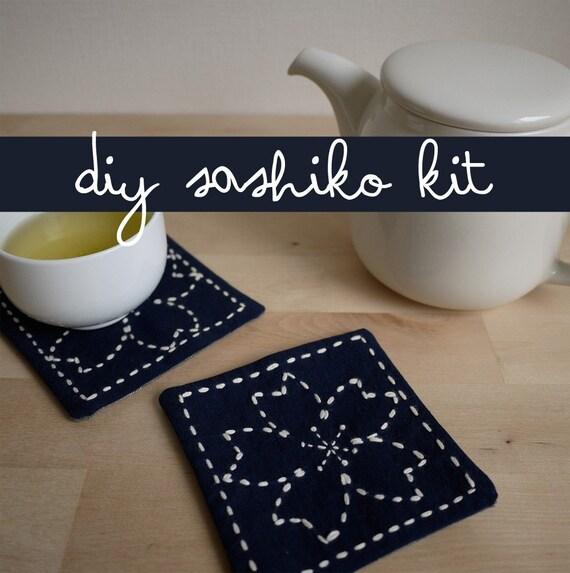DIY Sashiko Embroidery Kit: Sakura Coasters (Cherry Blossoms, Set of 2)