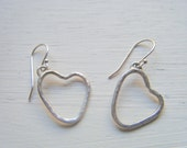 Valentine's Clearance Textured Sterling Silver Heart Earrings