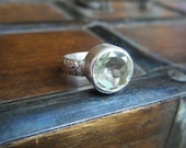 Soothsayer Ring in Prasiolite and Sterling Silver Size 61/2