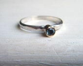 Captured a Drop of the Ocean Stack Ring Aquamarine 14kt Gold and Silver Size 6
